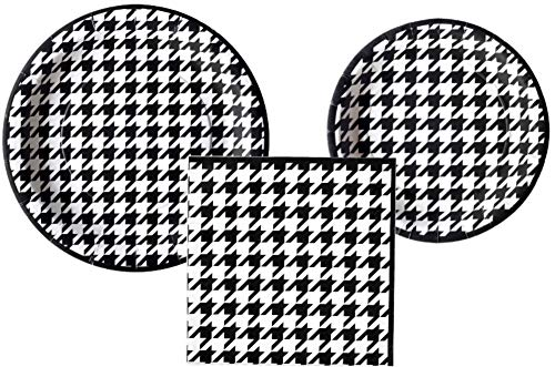 Houndstooth Party Supply Pack: Bundle Includes Plates and Napkins for 16 Guests (Party Houndstooth Supplies)