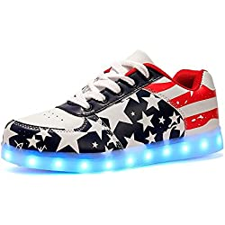 Women Men LED Light Up Shoes USB Charging American USA Flag Sport Flashing Sneakers(Red 43/12 B(M) US Women / 9 D(M) US Men)