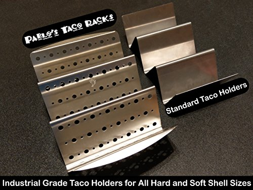 Taco Holder with Handles for Hard or Soft Tacos - Stainless Steel Large Racks - Set of 2 Restaurant Grade Quality Taco Truck Stands Oven Safe by Elite Homeware (Image #1)