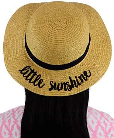 9befe89efa533 C.C Children s Weaved Crushable Beach Embroidered Quote Flop Brim Sun Hat