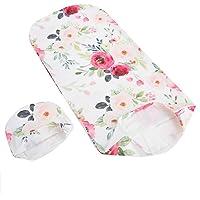 Swaddle Wrap nyfödd mottagande filt med hatt set baby wrap mottagande filt sovsäck anti-chock mjuka kläder för nyfödda…