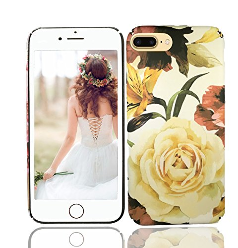 iPhone 8 Plus Case, iPhone 7 Plus Case, Vivafree Girl [Premium Floral Series] Flower Design with TPU Bumper - Soft Slim Silky Flexible Silicone Cover Cellphone Case - White Rose (Cell Case Plastic Phone)