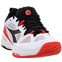 The men's Diadora Speed Blushield Fly 2 tennis shoe utilizes Blushield Fly technology along with Suprelltech, Air mesh, and Diashield for lightweight support and comfort in a durable tennis shoe.