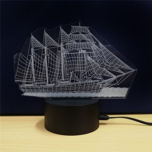 3D Table Lamp Boat Steamship Ship Shape Gift Acrylic Night light Furniture Decorative Colorful 7 Color Change Household Home Accessories Sailboat