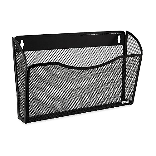 Rolodex Mesh Collection Single-Pocket Wall File, Black (21931) 2-Pack ()