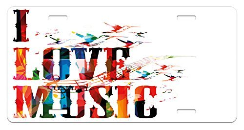 zaeshe3536658 Lifestyle License Plate, I Love Music Phrase in Grunge Effects and Birds Flying Soul Freedom Illustration, High Gloss Aluminum Novelty Plate, 6 X 12 Inches. by zaeshe3536658