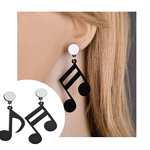 Punk Acrylic Big Black Music Note Treble Clef Drop Dangle Earrings Musical Jewelry for Women Hip Hop Party Gifts