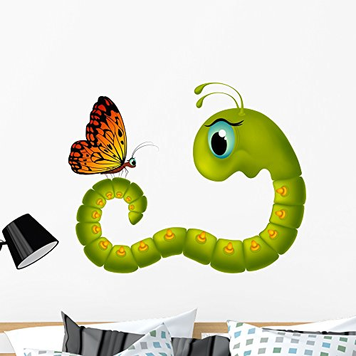 Wallmonkeys Cartoony Caterpillar Looking Butterfly Wall Decal Peel and Stick Graphic (36 in W x 29 in H) -