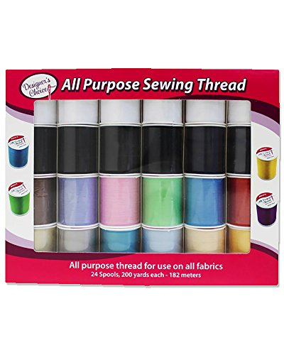 Allary 4857-GB Designers Choice All Purpose Polyester Sewing Thread Spools 200 Yards Each - Multicolored in Box - Multipack Bundles (Set of 24 Spools) - Multi Colored Polyester Thread
