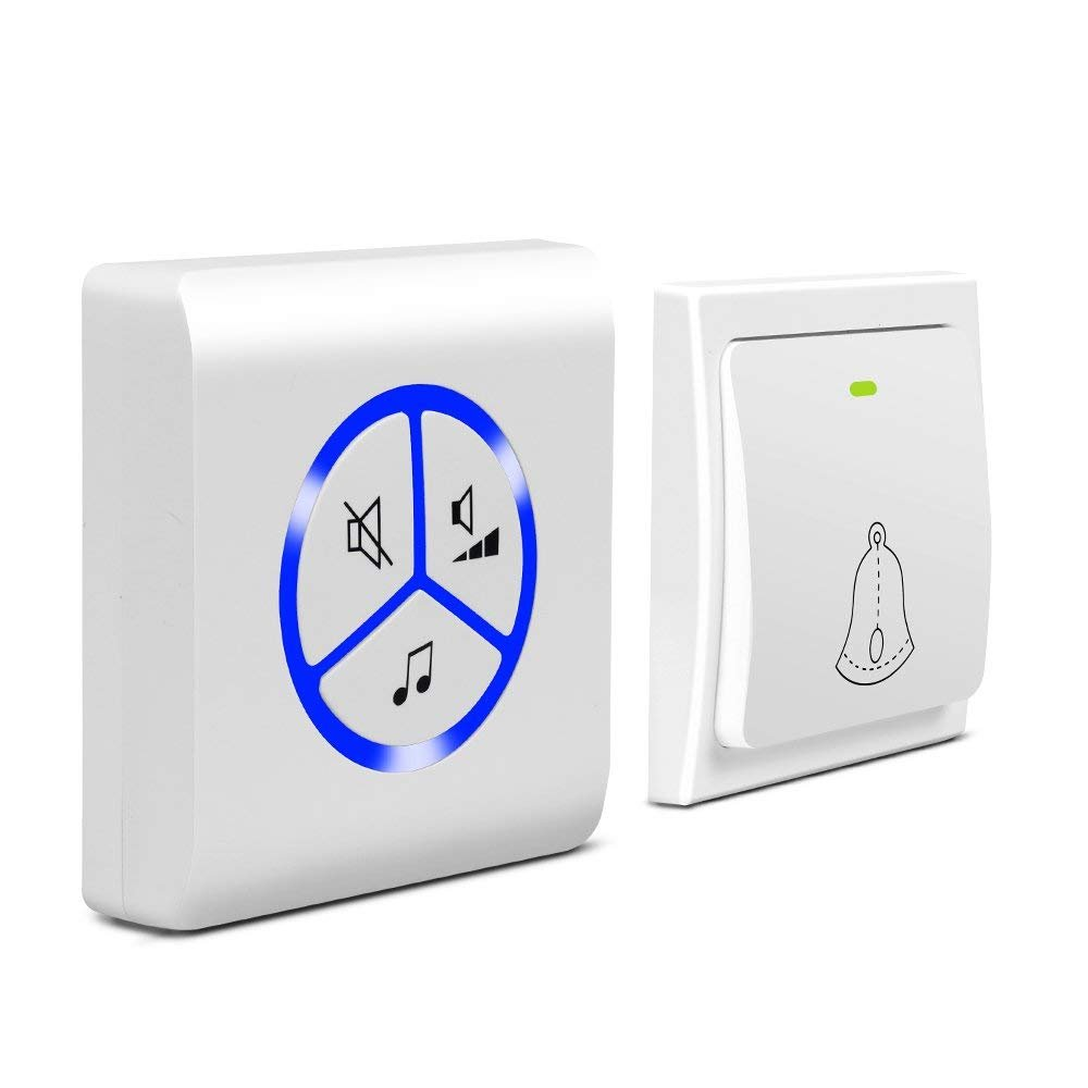 MUTANG Self-Generating Powered Wireless Doorbell Kit No Battery Required Weatherproof Electric Door Chime With 1 Transmitter And 1 Receiver LED Indicator