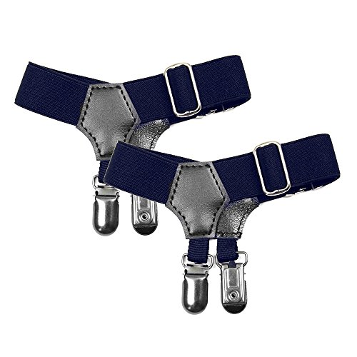Rihanna Hard Costume (NAVAdeal Pack of 2 Sock Garters with Double Metal Non-Slip Clips (Navy Blue))