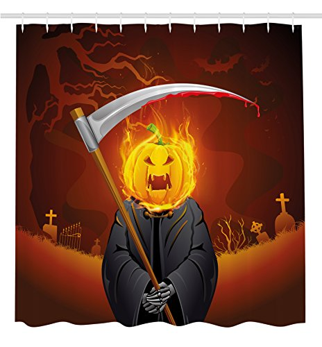 Halloween Decorations Shower Curtain by Ambesonne, Pumpkin Grim Head Burning Flames Character Scary Creature Nightmare, Fabric Bathroom Decor Set with Hooks, 70 Inches, Orange (Graveyard Halloween Ideas)