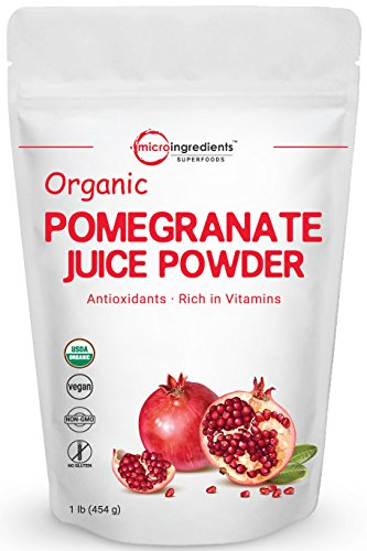 100% Pure Pomegranate Antioxidant - Organic Pomegranate Juice Powder, 1 Pound, Freeze-Dried and Cold-Pressed, Natural Antioxidant to Support Cardiovascular Health, Organic Flavor for Smoothie and Beverage, Non-GMO & Vegan Friendly