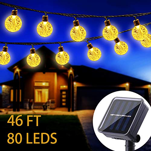 WERTIOO Solar String Lights 46ft 80 LEDs, Outdoor Solar Power Globe Lights Waterproof Crystal Ball Lighting for Patio, Lawn, Garden, Wedding, Party, Christmas Decorations (Warm White) (String Lights Solar Globe)
