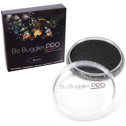 Face Paint 32 Grams Black | Classic Colors by Bo Buggles Professional | Water Activated -