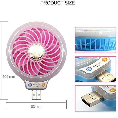 Mini USB Fan with LED Light, Coopsion USB Desk Personal Fan Light Portable Cooling Fan for Power Banks USB Charger Port (Rose) by coopsion (Image #1)