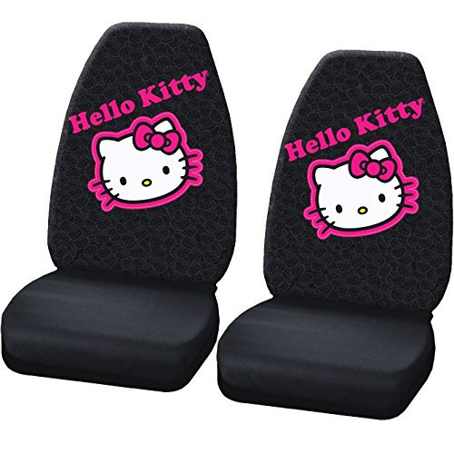 2 pc Hello Kitty Collage Black Pink Front Highback Seat Covers Set New (Hello Kitty Seat Covers)