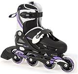 Osprey Girls Inline Skates - Black/White/Purple, Size 1-4 (EU 33-37)