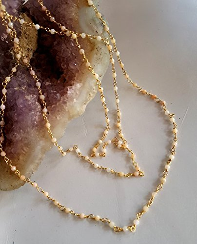 1.5 Ball Faceted Mm - Gold Plated Chain Pink Opal Faceted balls beads Wire Warped Rosary Chain by Foot 1.5 mm Approx round M No.- 2355