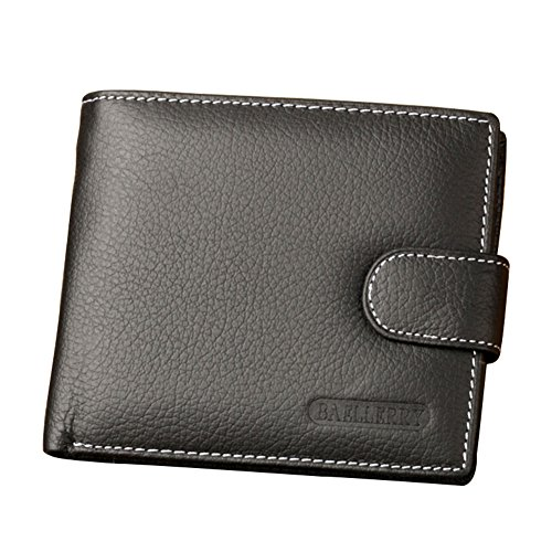 (2 ID Window bifold Snap Closure Wallet With Coin Purse Zipper Pocket For Men RFID Blocking)