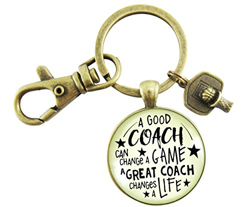 Basketball Coaching Keychain A Great Coach Changes a Life Bronze Pendant Key Chain From Youth