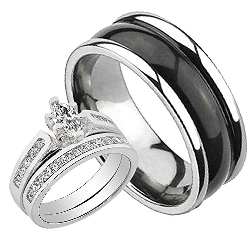 His and Hers 3 pcs Wedding Ring Set 1.1CT Sterling Silver Cubic Zirconia Black Bubble Titanium Sz6,8