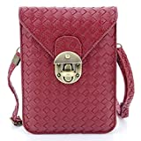 U-TIMES Women's Braid Pattern PU Leather Cross Body Shoulder Bag Wallet Phone Pouch With Lock Closure(Wine Red)