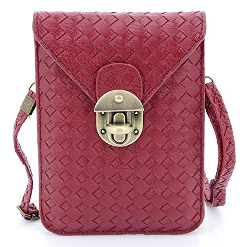 Price comparison product image U-TIMES Women's Braid Pattern PU Leather Cross Body Shoulder Bag Wallet Phone Pouch With Lock Closure(Wine Red)