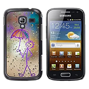 Design for Girls Plastic Cover Case FOR Samsung Galaxy Ace 2 Childrens Drawing Stickman Art Umbrella Rain OBBA