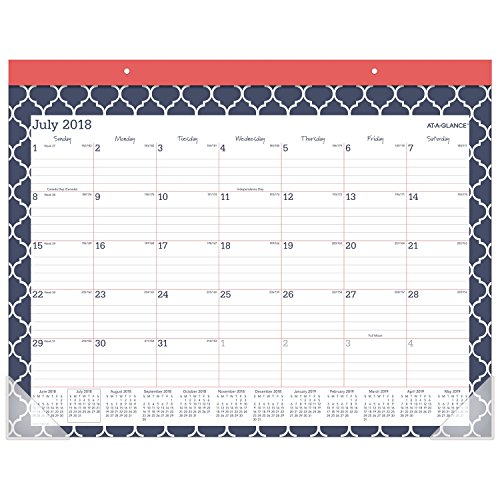 AT-A-GLANCE 2018-2019 Academic Year Desk Pad Calendar, Standard, 21-3/4 x 15-1/2, Emma Moroccan (Large Desk Calendars)