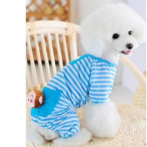 Image of Tuscom Small Pet Dog Stripes Pajamas, Dog Jumpsuits Coat Clothes (XS, Blue)