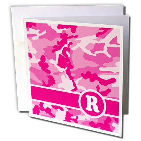 3d Rose 3dRose Cute Pink Camo Camouflage Letter R - Greet...