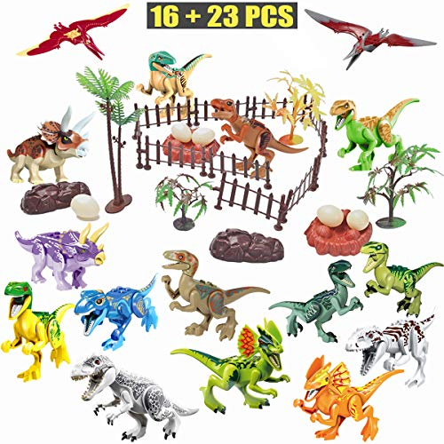 Dinosaur Scene - Winrase DIY Dinosaur Building Blocks Toys Set - 16pcs Buildable Jurassic Predator Herbivore Dinosaur Building Blocks Figures with Movable Jaws and 23pcs Dinosaur Scene Configuration Park