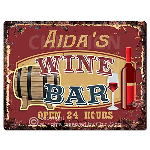 AIDA'S Wine BAR Tin Chic Sign Rustic Vintage Style Retro Kitchen Bar Pub Coffee Shop Decor 9