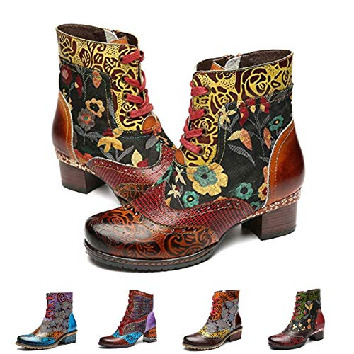 - gracosy Ankle Bootie for Women, Leather Boots Vintage Fashion Short Boots Side Zipper Floral Pattern Brown 11 M US