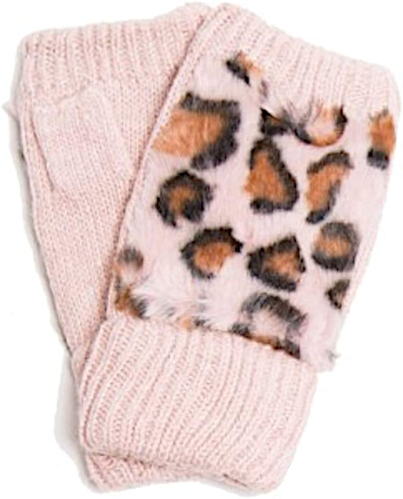 Women's Winter Cable Knit Faux Fur Leopard Patterned Warm Fingerless Half Finger Gloves Mittens Handwarmer for Typing Texting