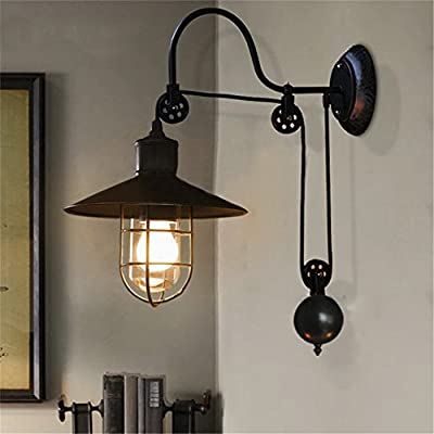 BAYCHEER HL410694 Industrial Retro Farmhouse Style lifting pulley retractable Adjustable glass Birdcage wall lamp light Wall Sconce for bedroom restaurant bar with 1 Light