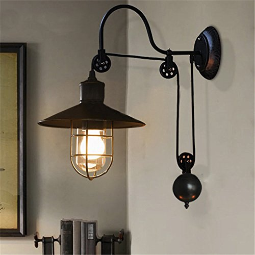 BAYCHEER HL410694 Industrial Retro Farmhouse Style Lifting Pulley  Retractable Adjustable Glass Birdcage Wall Lamp Light Wall Sconce For  Bedroom Restaurant ...