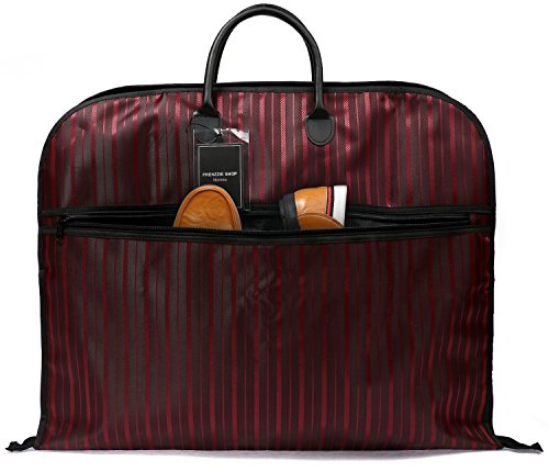 Nornou Foldable Travel Garment Bag Ultra-light Suit Dustproof Bag With Metal Hanging Hook Wine (Nylon Suit Bag)