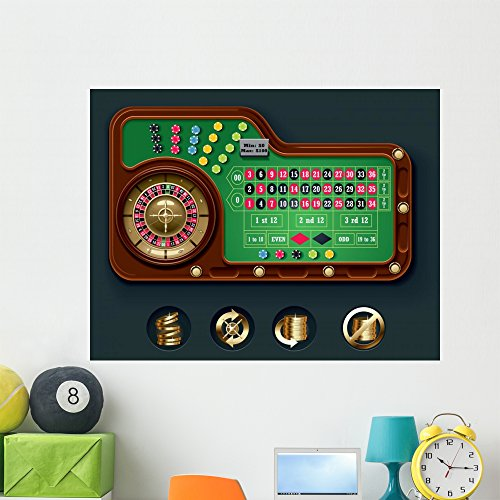 Wallmonkeys FOT-24153147-48 WM86581 Vector American Roulette Table Layout Peel and Stick Wall Decals (48 in W x 37 in H), Extra Large