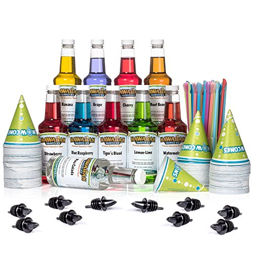 Hawaiian Shaved Ice Syrup 10 Pack with Accessories (The Best Snow Cone Syrup)