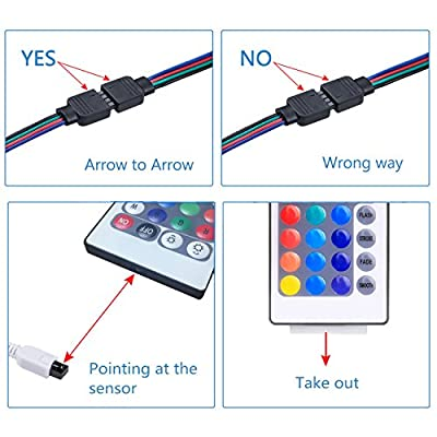 WenTop LED Light Strip, WiFi Wireless Smart Phone Controlled Strip Light Kit DC12V UL Led Lights 32.8ft(10M) 300leds Non Waterproof LED Strip,Working Android iOS System,IFTTT,Google Assistant