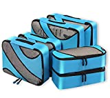 6 Set Packing Cubes,3 Various Sizes Travel Luggage Packing Organizers Blue