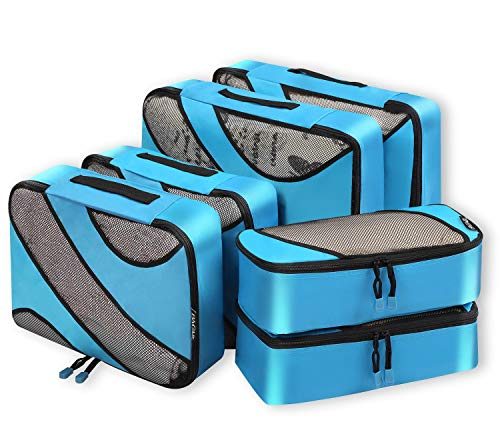 6 Set Packing Cubes,3 Various Sizes Travel Luggage Packing Organizers Blue (Best Packing Cubes Reviews)