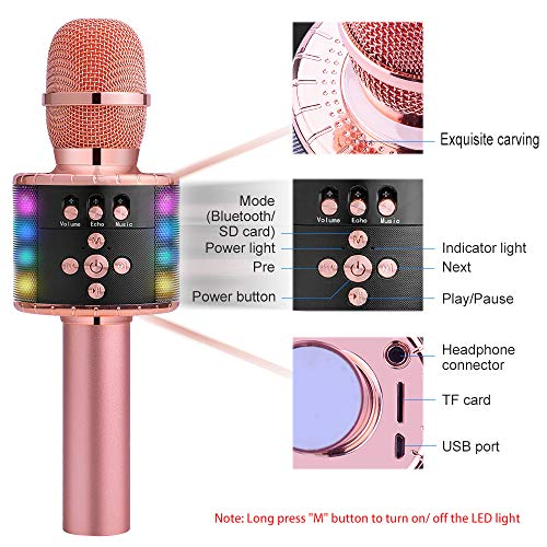 Large Product Image of BONAOK Wireless Bluetooth Karaoke Microphone with Multi-color LED Lights, 4 in 1 Portable Handheld Home Party Karaoke Speaker Machine Christmas Gift for Android/iPhone/iPad/Sony/PC (Rose Golden)