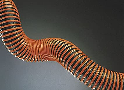 Black and Orange Industrial Ducting Hose 8 Inside Diameter PVC Laminated Polyester 25 Feet Length Hi-Tech Duravent 1104-0800-0001-60