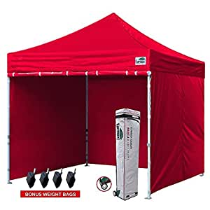 Eurmax 10x10 Ft Easy Pop-up Canopy Commercial Instant Party Tent with 4 Removable Sidewalls and Roller Bag, Bonus 4pcs Weight Bags (Red)