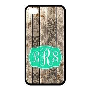 Vintage Imitative Wood European Pattern & Turquoise Monogram Personalized Custom iPhone 4/4s Best Rubber & Plastic Case
