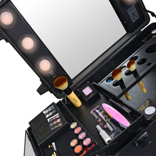 SHANY Studio To Go Makeup Case with Light - Pro Makeup Station - BLACK