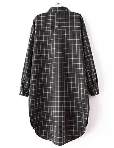 PU&PU Robe Aux femmes Grandes Tailles Vintage / Soirée / Travail / Décontracté / Plage / Mignon , Damier Asymétrique Coton , red-xl , red-xl
